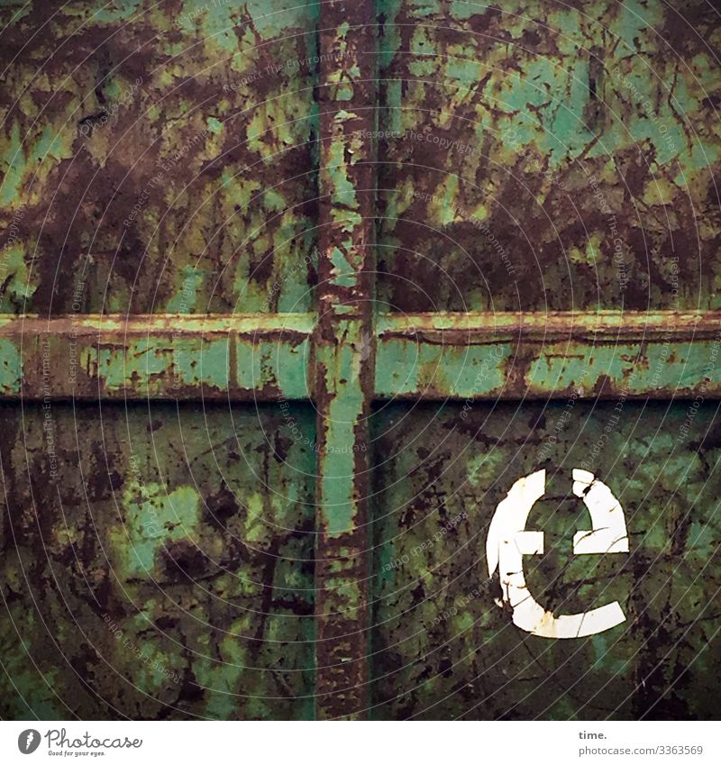 e Container Trashy Broken E letter Green Old Second-hand Rust scratch Crucifix daylight texture Whimsical Puzzle mystery lives Experience