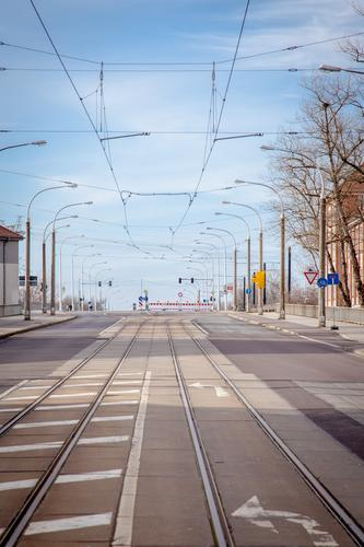 empty streets (17). Environment Sky Brandenburg an der Havel Town Deserted Bridge Road traffic Street Lanes & trails Rail transport Tram Railroad tracks Sign