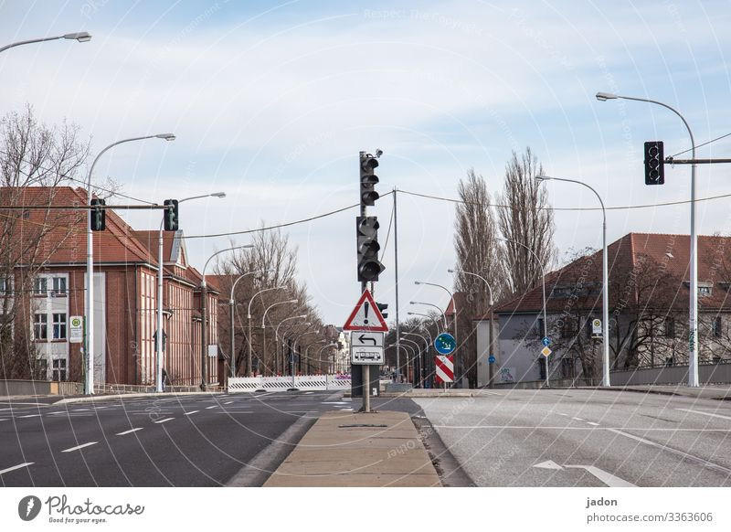 empty streets (21). Street Traffic light traffic light Deserted Town Exterior shot Traffic infrastructure Road traffic direction arrow Avenue output lock