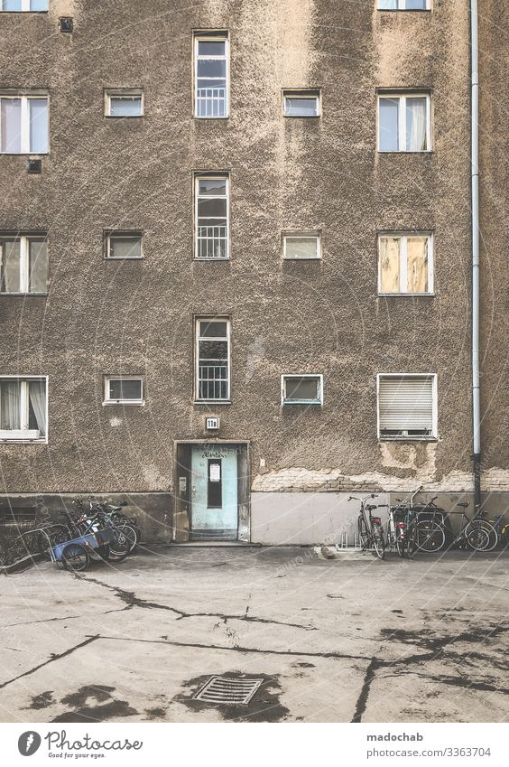 The normal life Decline Broken Dirty refurbishment Berlin Apartment Building Facade Trashy Destruction Transience Ruin Deserted Past Subdued colour Architecture