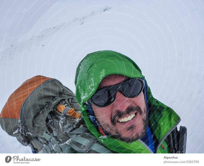 Human being Nature Man Joy Adults Environment Cold Snow Laughter Snowfall Hiking Fear Masculine Ice Weather Adventure