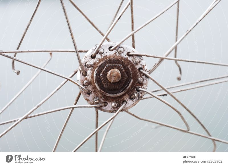 hub of a bicycle with bent spokes Hub Bicycle Spoke Transport broken Repair Damage Broken Detail