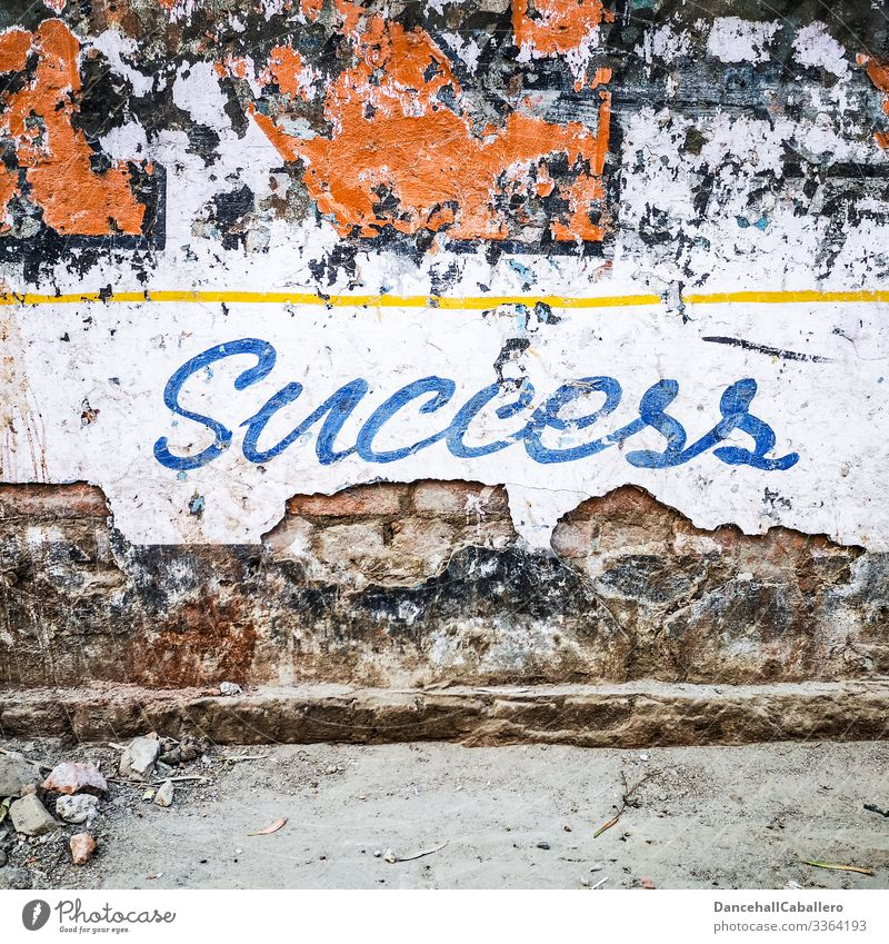 Writing success on broken old wall Success Fiasco Wall (building) Change Wall (barrier) Graffiti Disappointment Facade Sign Characters Town Perspective Broken