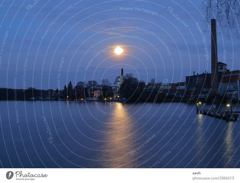 moonstruck Sky Night sky Moon Full  moon Beautiful weather Coast Lakeside Großer Müggelsee Lake Spree Berlin köpenick Friedrichshagen Village Town Capital city