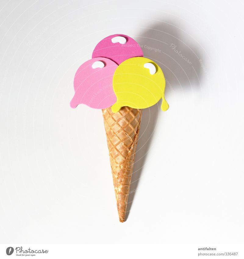 White Summer Joy Yellow Eating Lie Pink Authentic Fresh Happiness Decoration Ice cream Sweet Round Friendliness Plastic