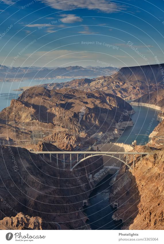 Hoover Dam - Hoover Dam Bypass - Colorado River Bridge - USA Environment Nature Landscape Air Water Sky Sun Americas Build Flying Looking Beautiful Blue Brown