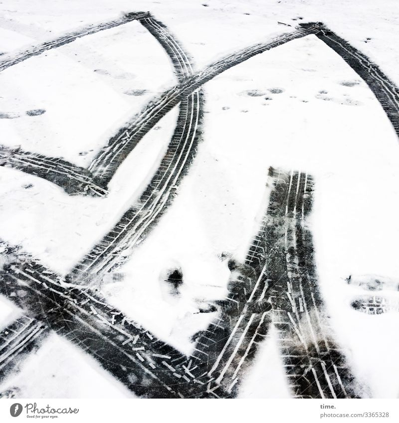 Winter sports | Ice Age Environment Snow Transport Traffic infrastructure Motoring Parking lot Skid marks Impression Imprint Asphalt Thaw Athletic Bright Cold