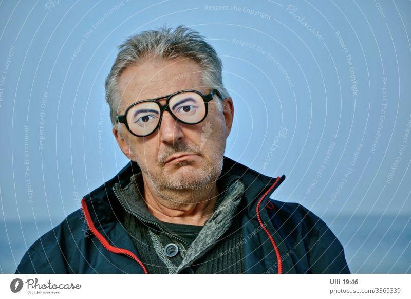 Slight doubt. Man Adults Male senior Head Face 1 Human being 60 years and older Senior citizen Sky Autumn Coast Beach Baltic Sea Deserted Jacket Eyeglasses