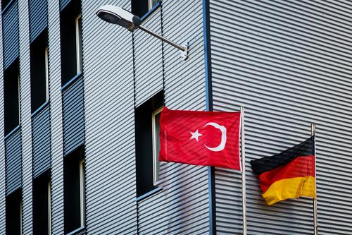 German Turkish Wind Germany Turkey High-rise Mosque Facade Flag Authentic Together Town Gold Red Black White Might Acceptance Loyal Responsibility Concern