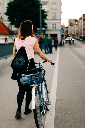 Bike Girl Young woman Youth (Young adults) Woman Adults 13 - 18 years 18 - 30 years Town Bicycle Hip & trendy Munich reichenbach Bridge Cycle path Push