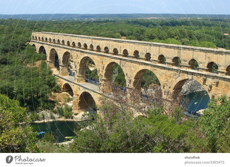 Pont du Gard Exterior shot Multicoloured Rome France Provence Colour photo Ancient Aqueduct Roman aqueduct Esthetic Rock River Bridge Swimming & Bathing