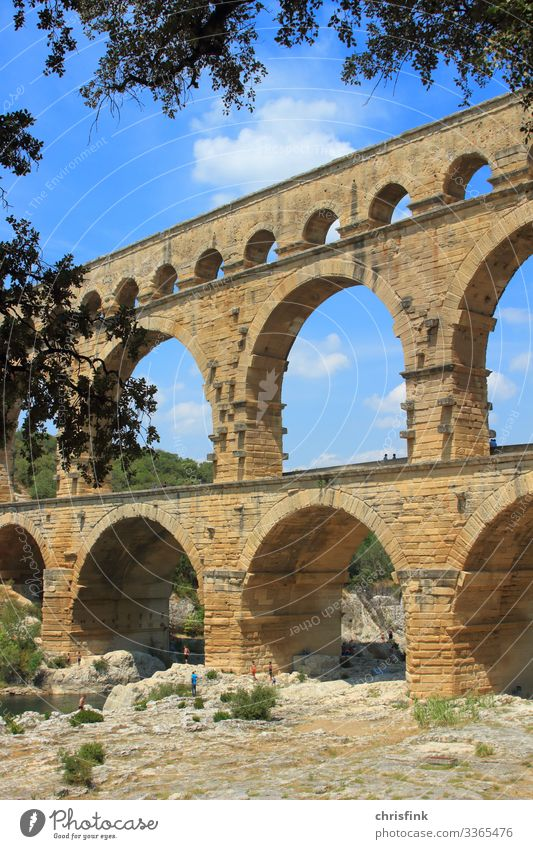 Pont du Gard Leisure and hobbies Art Work of art Painting and drawing (object) Architecture Environment Landscape Rock River Bridge Swimming & Bathing Old