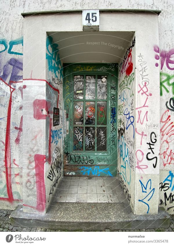 45 Art Work of art Graffiti Berlin Capital city Deserted House (Residential Structure) Facade Door Bell Dollar symbol Nerdy Trashy Blue Multicoloured Yellow