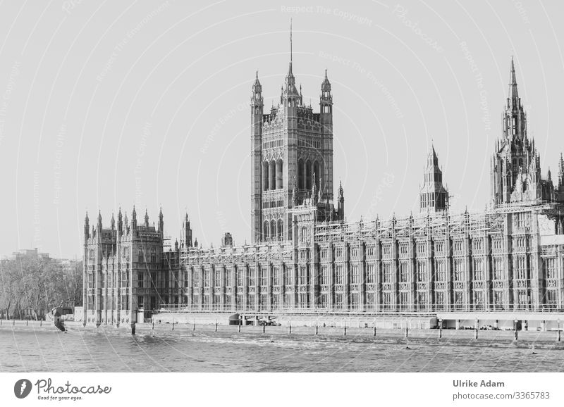 View over the Thames to the Palace of Westminster ( Palace of Westminster ) in London palace of westminster Politics and state Vacation & Travel Nostalgia