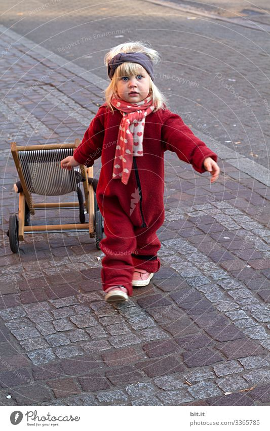Girl with doll carriage girl Street Child Playing Infancy Joy Toddler Parenting 1 - 3 years Walking Running Happiness luck Joie de vivre (Vitality) Cute