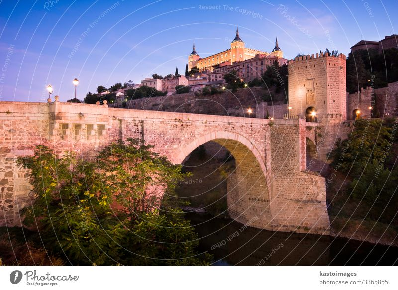 Cityscape of Toledo Vacation & Travel Tourism Landscape Earth Sky Tree Hill River Town Palace Castle Bridge Building Architecture Facade Stone Old Bright