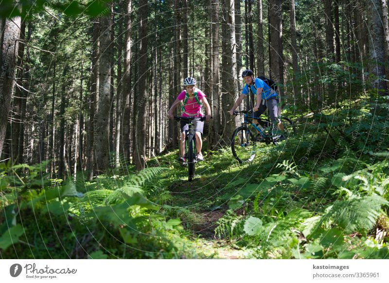 Active sporty couple riding mountain bikes on demanding forest trail. Lifestyle Joy Happy Beautiful Relaxation Leisure and hobbies Adventure Summer Mountain