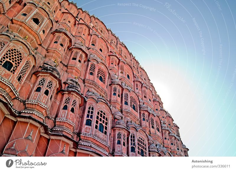 Palace of the Winds 2 Air Sky Cloudless sky Sun Sunlight Summer Weather Beautiful weather Warmth Jaipur Rajasthan India Asia Town Capital city
