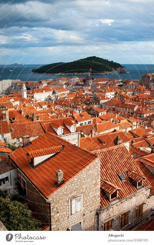 Dubrovnik Old City Red Roofs Vacation & Travel Ocean Island House (Residential Structure) Culture Town Building Architecture Historic Above Croatia landmark