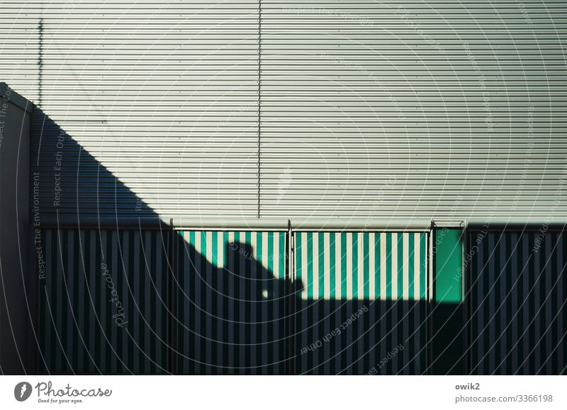 Behind the lines Facade Drape Slat blinds Cloth Metal Town Green Black White Orderliness Modest Protection Safety Objectivity Impersonal Demanding Parallel Line