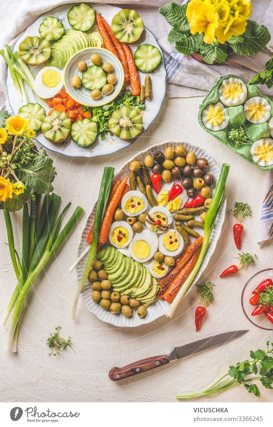 Easter dinner Food Nutrition Buffet Brunch Banquet Organic produce Diet Crockery Style Healthy Eating Restaurant Design Tradition Background picture boiled eggs
