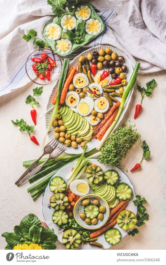 Easter dinner with eggs on a light table Food Nutrition Breakfast Lunch Buffet Brunch Banquet Organic produce Crockery Plate Style Healthy Eating