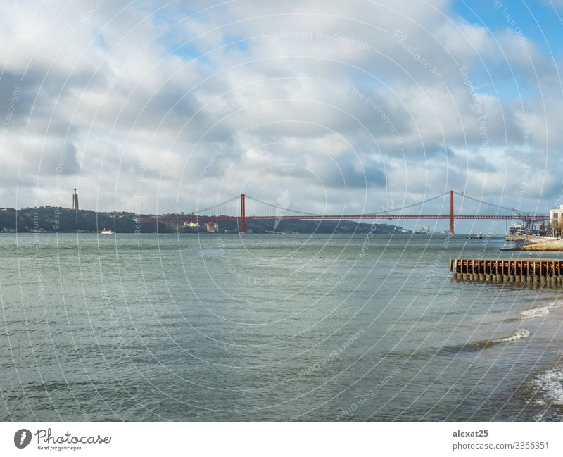 April 25 bridge in Lisbon - Portugal Vacation & Travel Tourism 18 - 30 years Youth (Young adults) Adults Landscape Sky River Bridge Architecture Transport Metal