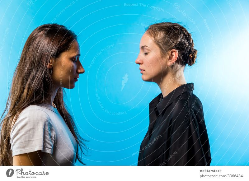 Profile of Two Women Facing Each Other With Eyes Closed Face to face eyes closed female girl women young adult female beauty natural beauty opposing opposites