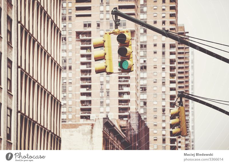 Traffic light in New York City, USA. Vacation & Travel Sightseeing City trip Building Wall (barrier) Wall (building) Transport Street Retro Safety Caution
