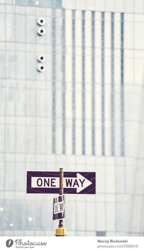 One way street sign in New York City. Vacation & Travel Trip Sightseeing City trip Town Building Wall (barrier) Wall (building) Transport Street Road sign