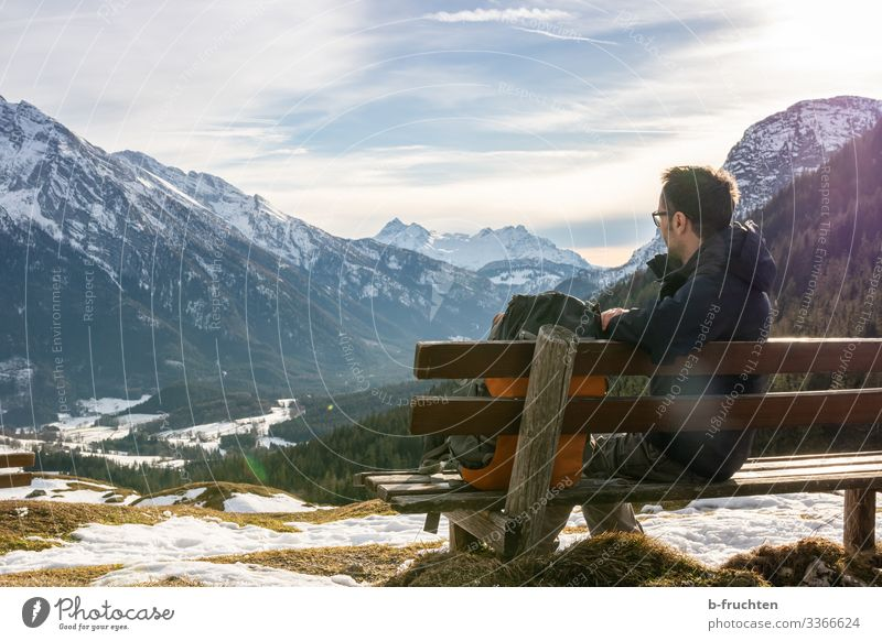 View of the mountain world Life Harmonious Calm Leisure and hobbies Trip Freedom Winter Snow Mountain Hiking Fitness Sports Training Man Adults 1 Human being