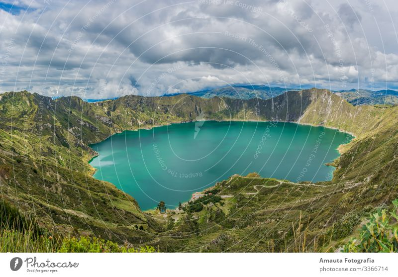 Quilotoa Lake Environment Nature Landscape Plant Animal Earth Water Sky Clouds Sun Sunrise Sunset Summer Climate Weather Grass Hill Rock Peak Tourist Attraction