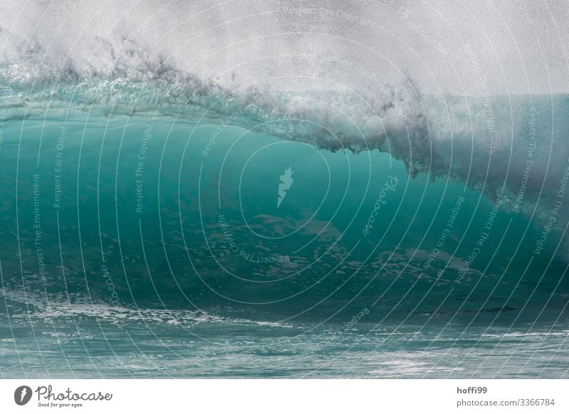 Big breaking wave with spray and turquoise coloured water Nature Water Sun Summer Beautiful weather Waves Ocean Atlantic Ocean Esthetic Threat Fluid Fresh