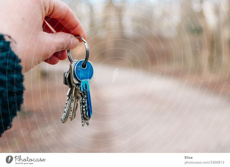 A hand holding, handing over, handing over a bunch of keys with a blue coloured key Hand Blue Key Give To hold on key handover Flat (apartment) Rent