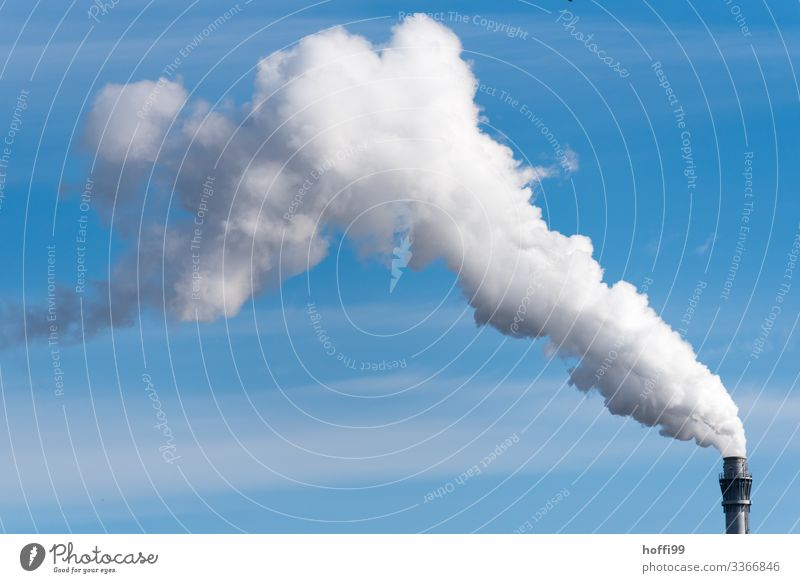 let off steam Energy industry Coal power station Industrial plant Factory Chimney Steam Exhaust gas Emission Authentic Threat Dirty Large Hot Bright Modern Town
