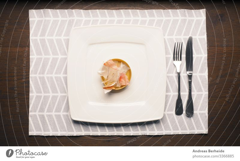 Packaging waste on a plate Nutrition Plate Cutlery Environment Plastic packaging Trashy Environmental pollution Environmental protection symbolic conceptual