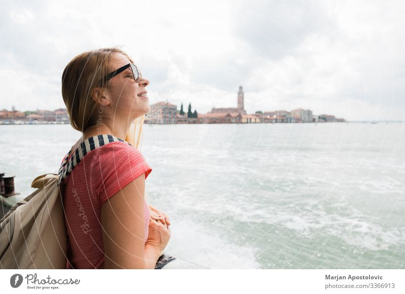 Young woman on the tour boat in Venice, Italy Lifestyle Vacation & Travel Tourism Trip Sightseeing City trip Cruise Feminine Youth (Young adults) Woman Adults 1