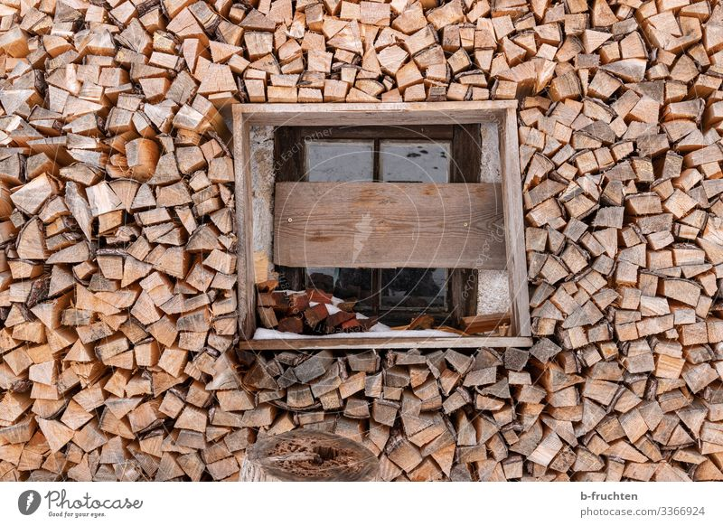 Firewood stock Living or residing House (Residential Structure) Hut Window Wood Alpine hut Supply Stack Arrangement Colour photo Exterior shot Deserted Day