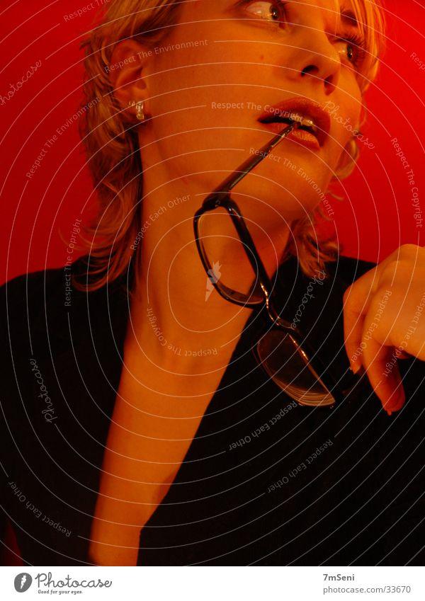Woman Red Black Eyeglasses
