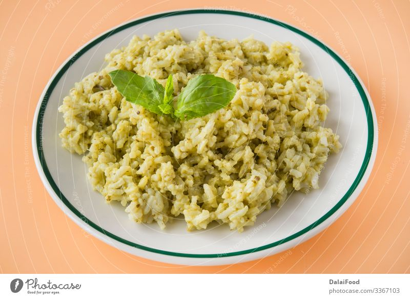 Green rice typical food ecuatorian Lunch Vegetarian diet Plate Tradition Basil brown background Cooking Coriander ecuatorian rice Gourmet green rice healthy