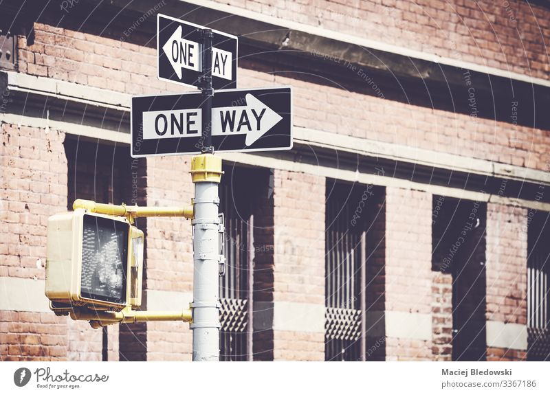 Retro stylized picture of one way street signs in New York. Vacation & Travel Building Traffic infrastructure Street Road sign Arrow Inspiration Nostalgia