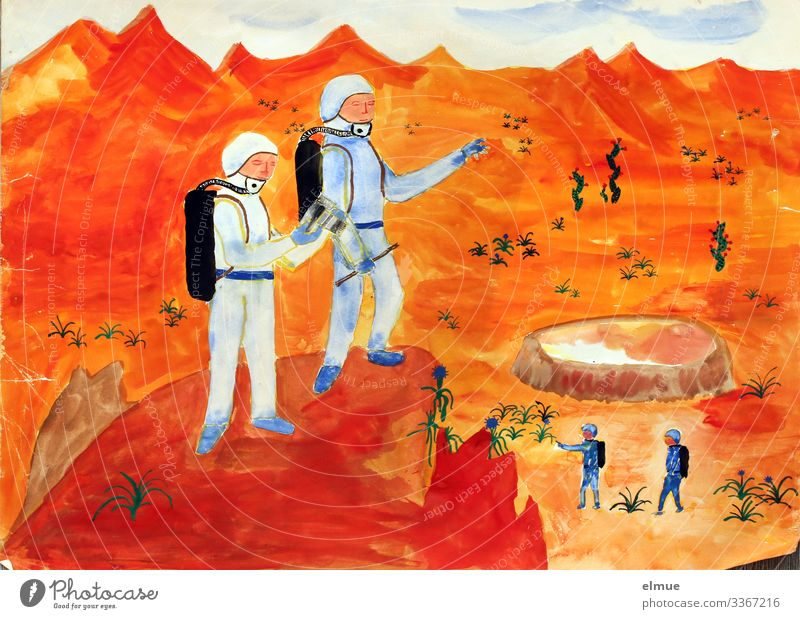 child's dream Leisure and hobbies Art Painting and drawing (object) Lunar landscape Mars Universe Task Exceptional Far-off places Infinity Kitsch Orange Red Joy