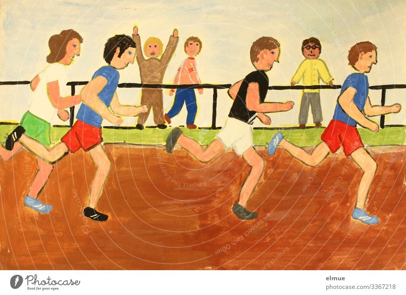 watercolours Leisure and hobbies Draw Watercolor painting picture Sports Track and Field Sportsperson Audience Sporting event Success Art