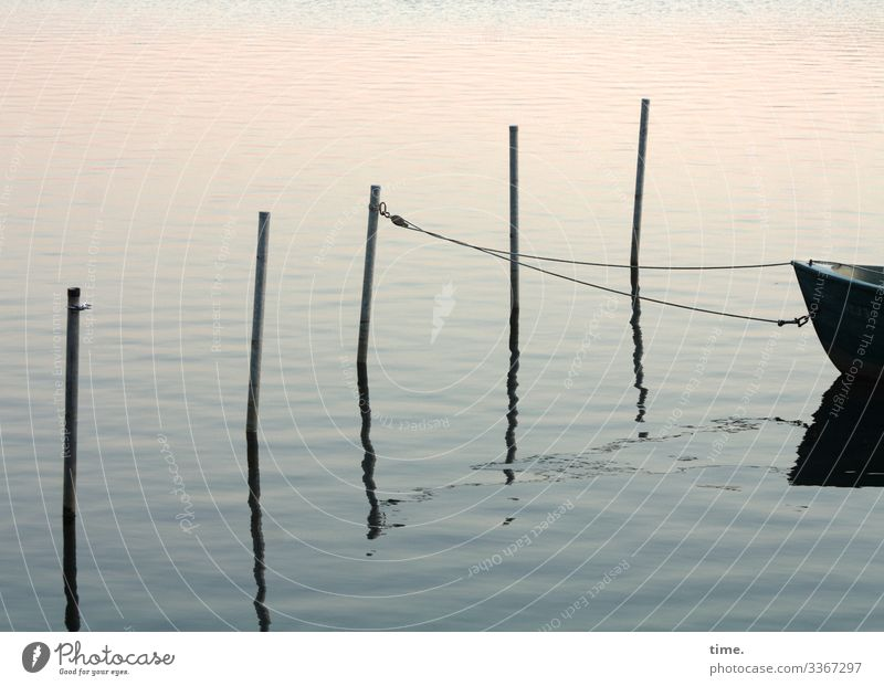 rope team | others park their horses in front of the saloon Water boat connected Rope Evening reflection Maritime Twilight rods Checkmark Eyelet Harbour Surface