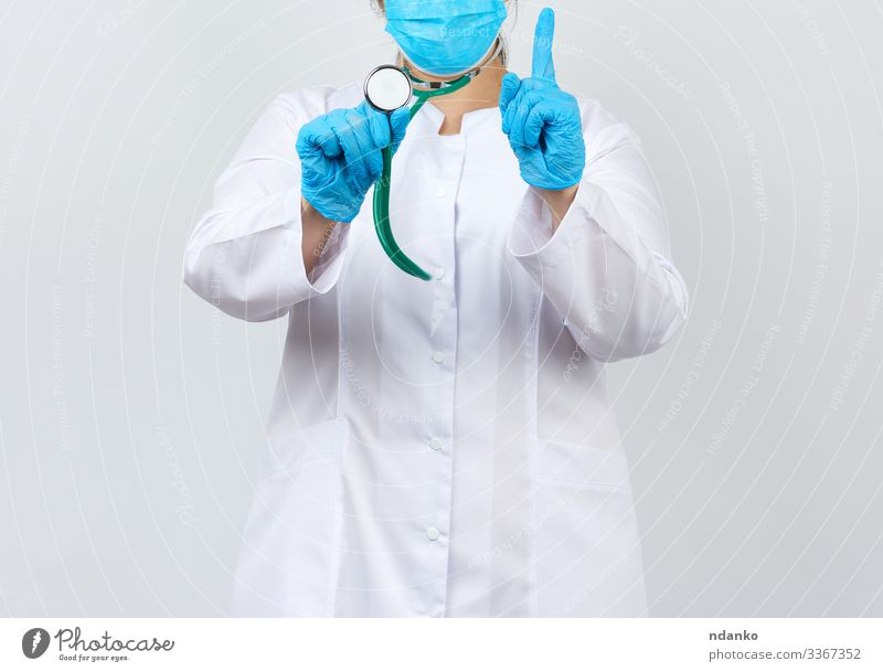 medic woman in a white coat and mask Health care Medical treatment Illness Medication Work and employment Profession Doctor Hospital Tool Human being Woman