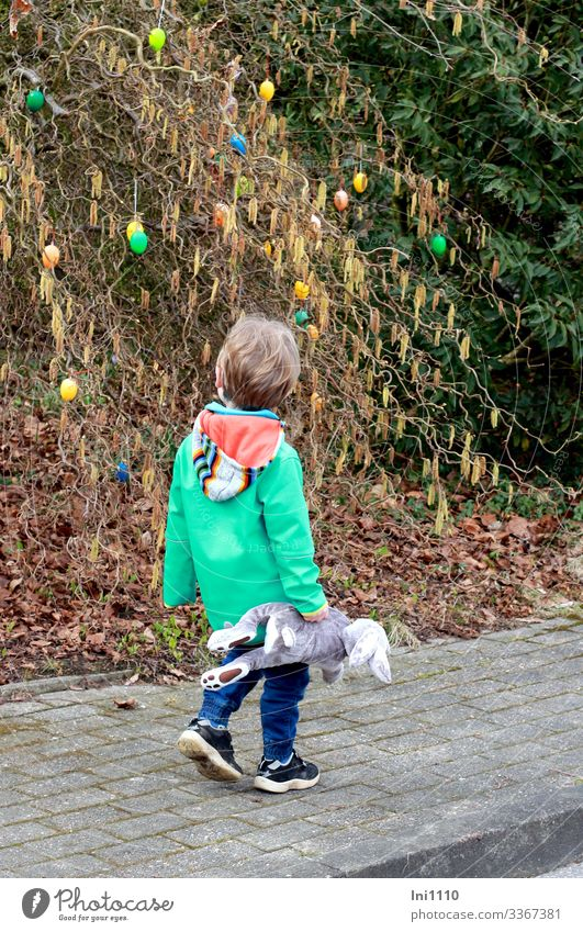Easter walk II Child Boy (child) 1 Human being 3 - 8 years Infancy Plant Bushes Hazelnut Movement Looking Curiosity Multicoloured Easter egg Exterior shot