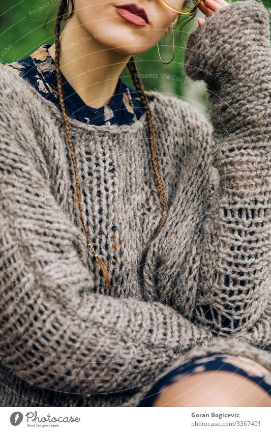 Young woman in knitted dress in the park Lifestyle Style Beautiful Face Summer Human being Youth (Young adults) Woman Adults Lips 1 18 - 30 years Autumn Park