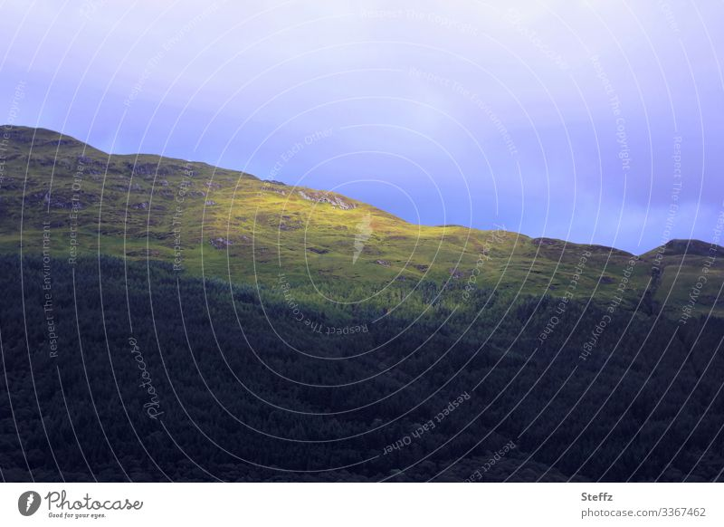 a sunspot Scotland Scottish countryside Nordic certain light Sunspot Mood lighting Northern Europe Mysterious Hill Shaft of light Flare Light and shadow