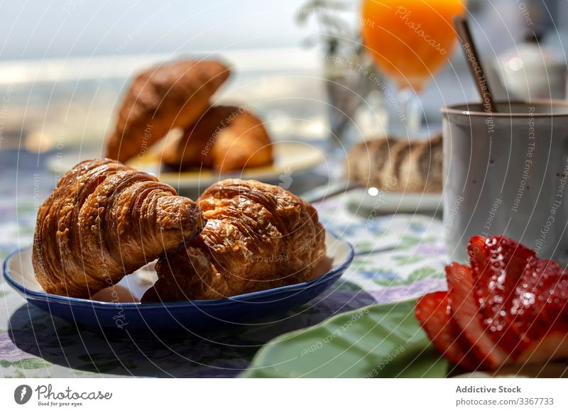 Homemade full breakfast in sunlight coffee background beverage brunch ingredient healthy bread traditional home restaurant tea drink sunny croissants natural