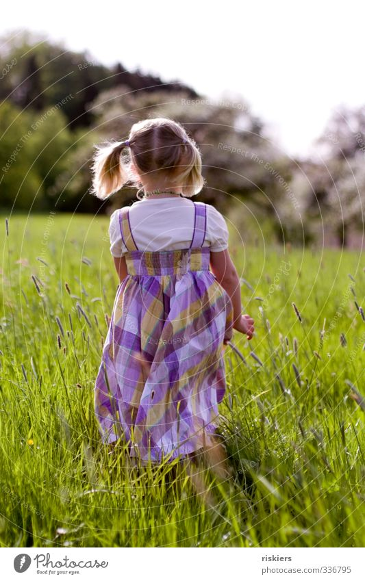 Human being Child Nature Summer Girl Landscape Environment Meadow Feminine Spring Freedom Natural Going Infancy Power Leisure and hobbies